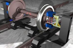Установка бесконтактного измерения параметров колесных пар тележек грузовых вагонов